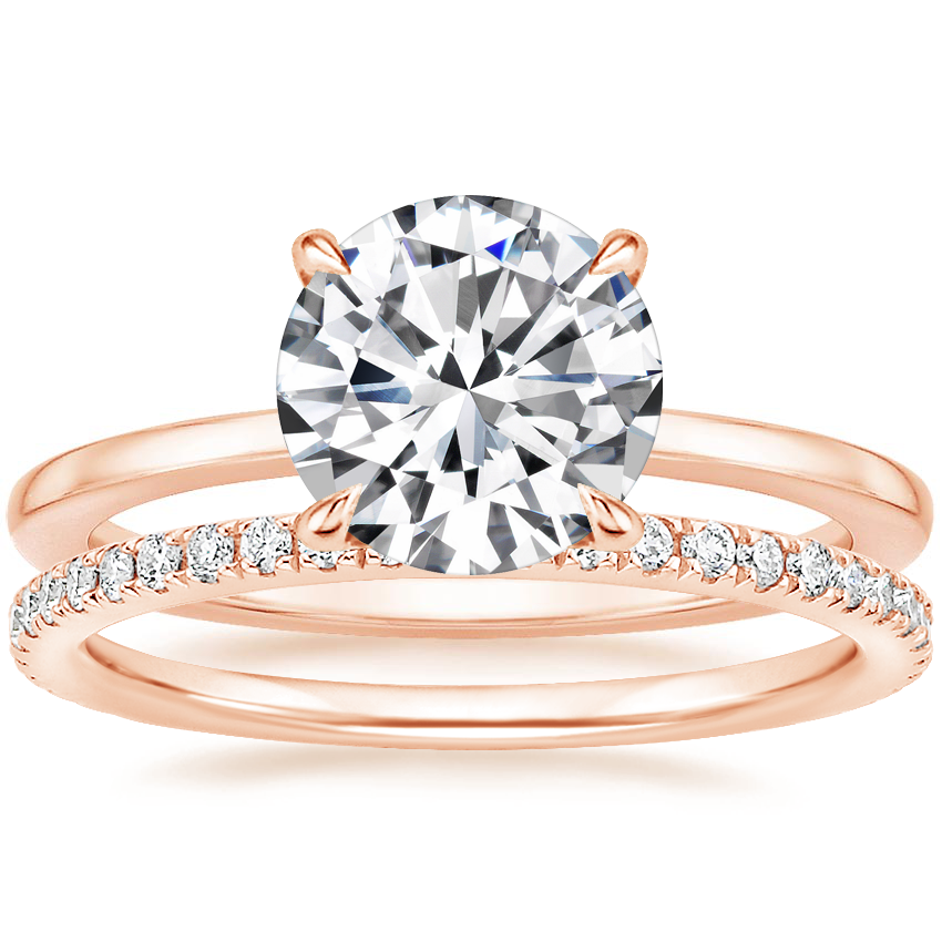 14K Rose Gold Lumiere Diamond Ring with Luxe Ballad Diamond Ring (1/4 ct. tw.)