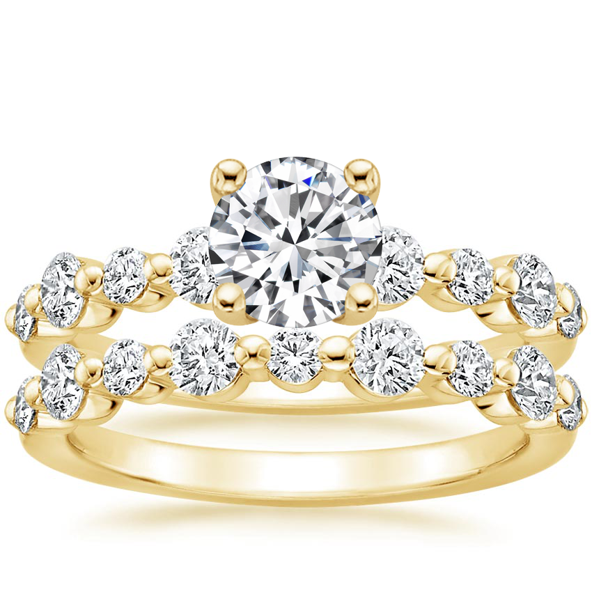 18K Yellow Gold Bordeaux Diamond Bridal Set