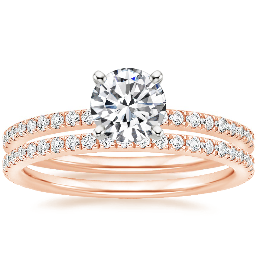 14K Rose Gold Ballad Diamond Ring (1/8 ct. tw.) with Luxe Ballad Diamond Ring (1/4 ct. tw.)