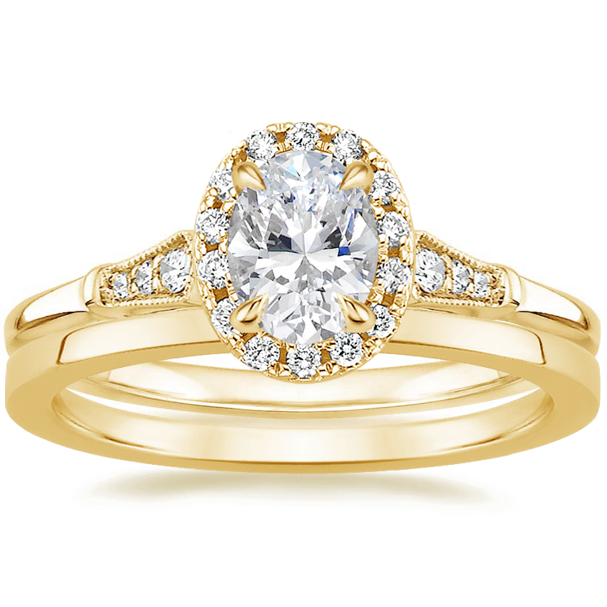 18K Yellow Gold Linden Diamond Ring with Petite Quattro Wedding Ring