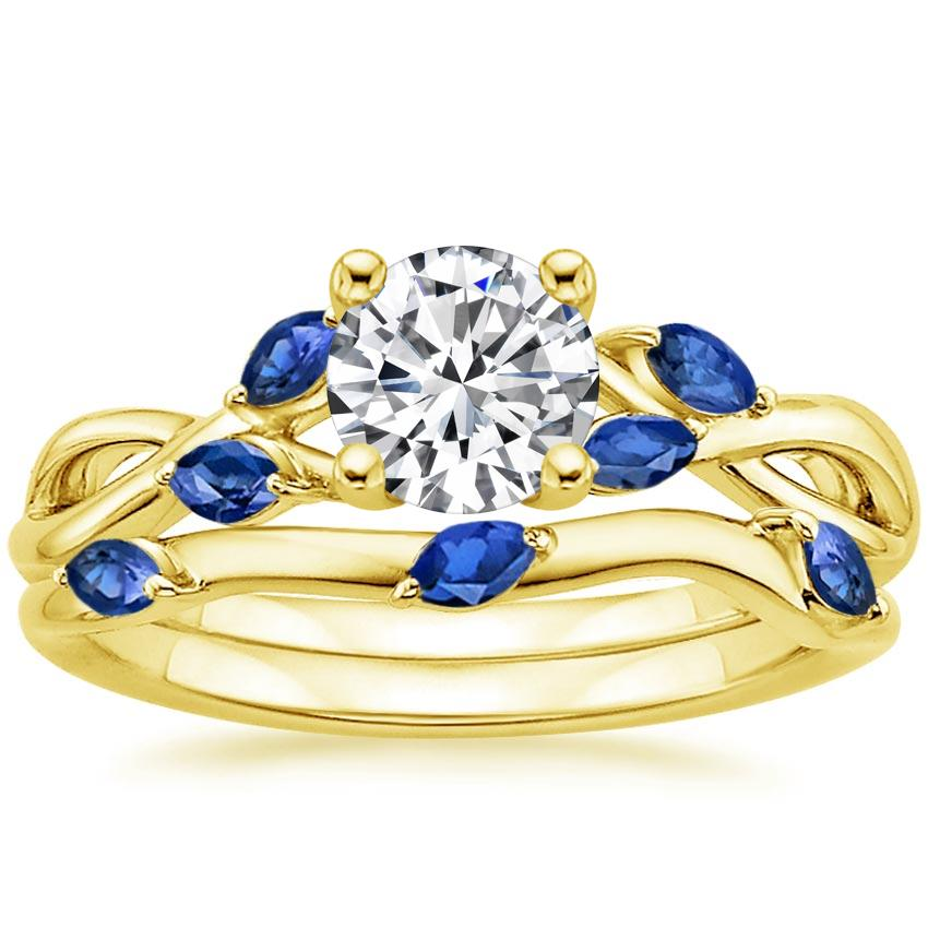 18K Yellow Gold Willow Bridal Set With Sapphire Accents, top view