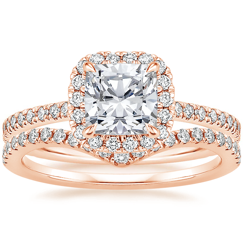 14K Rose Gold Luxe Ballad Halo Diamond Ring (1/3 ct. tw.) with Flair Diamond Ring (1/6 ct. tw.)