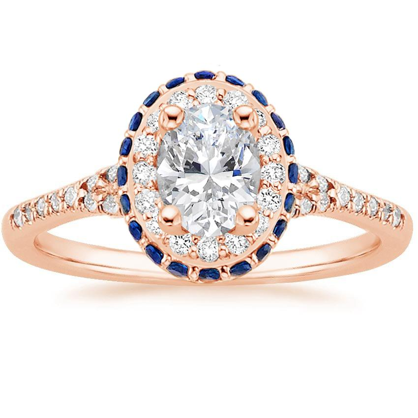 Oval 14K Rose Gold Circa Diamond Ring with Sapphire Accents (1/3 ct. tw.)