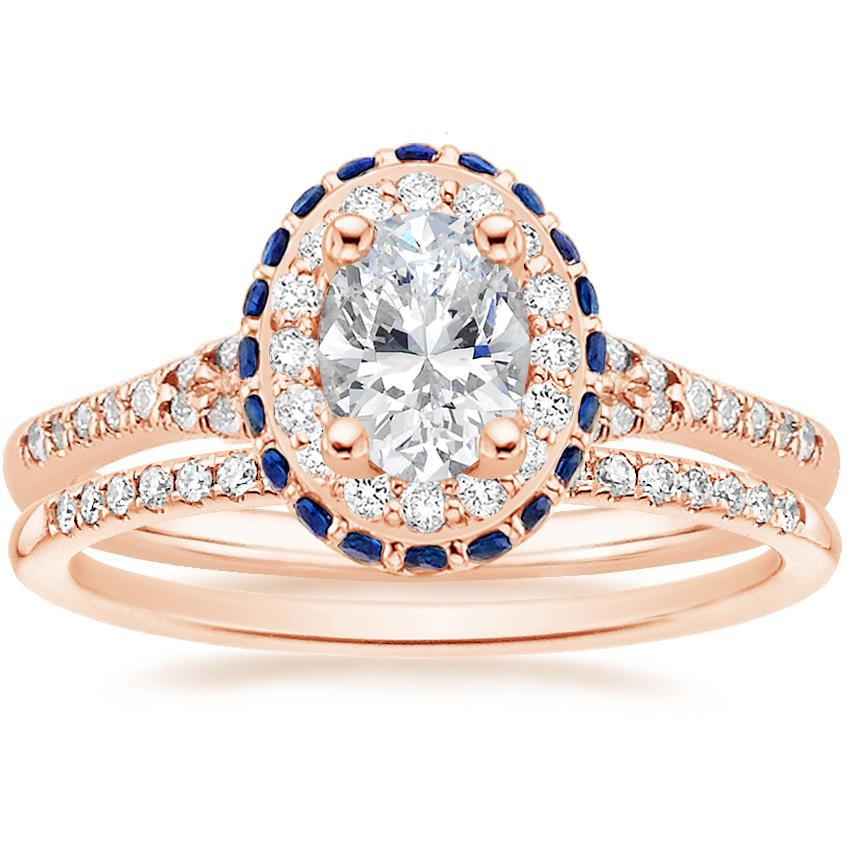 14K Rose Gold Circa Diamond Ring with Sapphire Accents (1/3 ct. tw.) with Whisper Diamond Ring (1/10 ct. tw.)