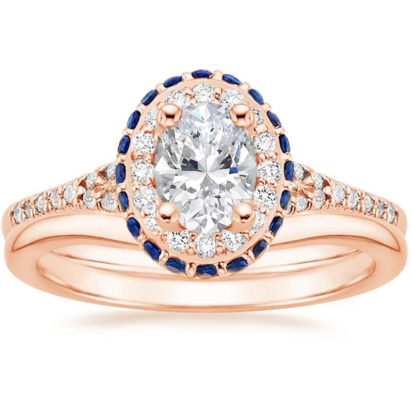 14K Rose Gold Circa Diamond Ring with Sapphire Accents (1/3 ct. tw.) with Petite Curved Wedding Ring