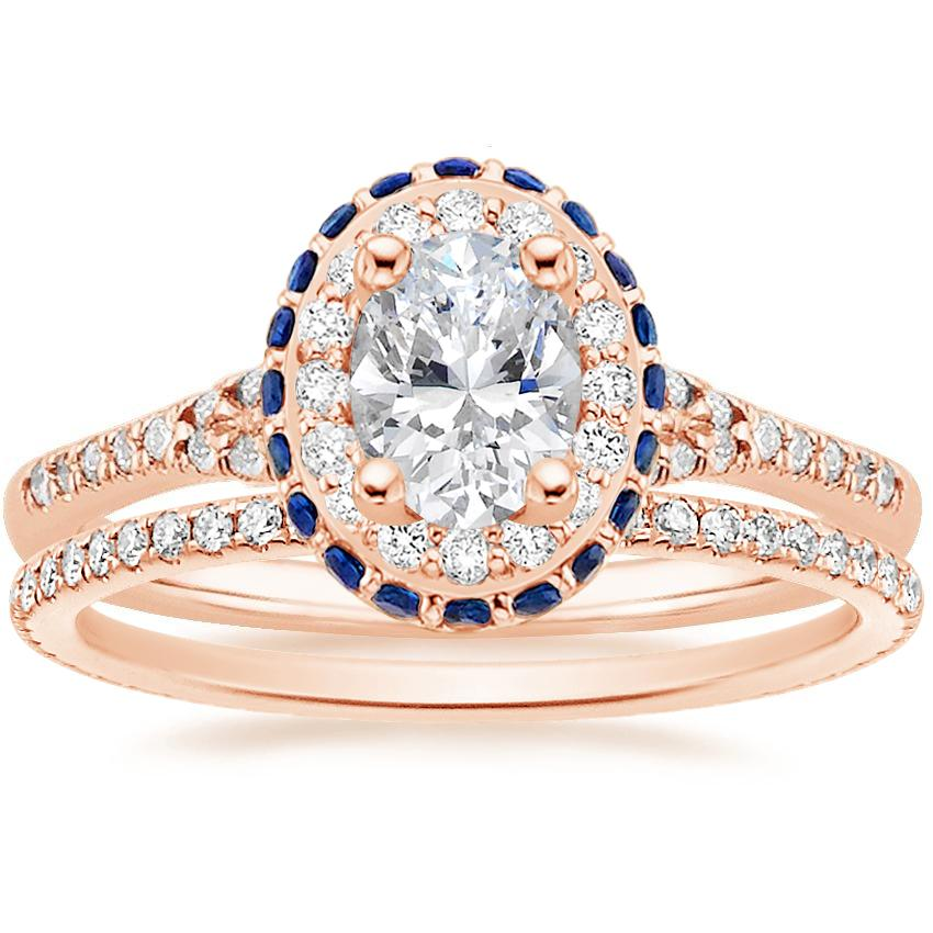 14K Rose Gold Circa Diamond Ring with Sapphire Accents (1/3 ct. tw.) with Whisper Eternity Diamond Ring (1/4 ct. tw.)