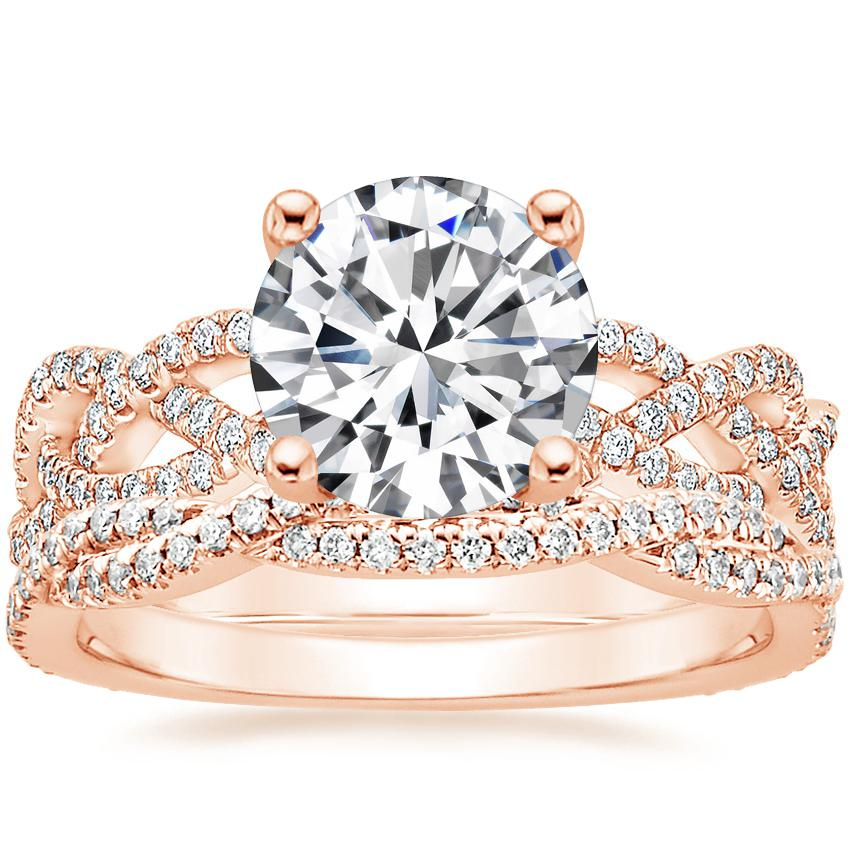 14K Rose Gold Solana Diamond Ring (1/3 ct. tw.) with Petite Luxe Twisted Vine Diamond Ring (1/4 ct. tw.)