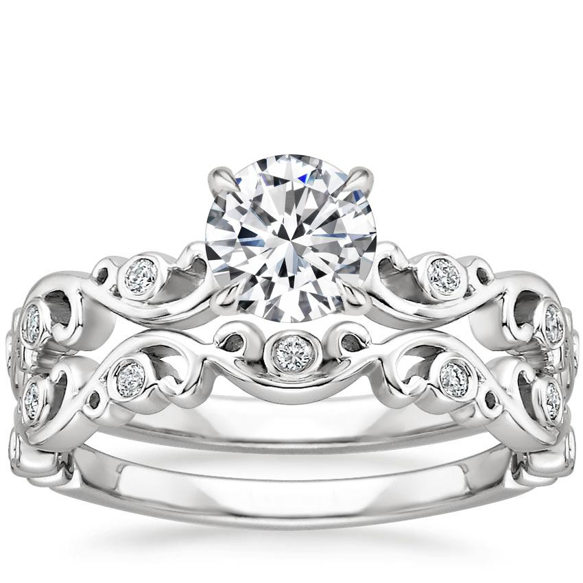 Ivy Scroll Bands: 18K White Gold Petite Ivy Scroll Diamond Bridal Set