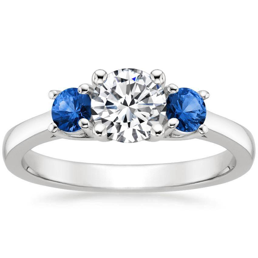 Platinum Three Stone Sapphire Trellis Ring, top view