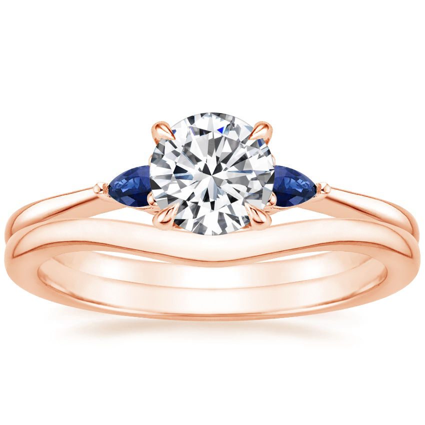 14K Rose Gold Aria Diamond Ring with Sapphire Accents with Petite Curved Wedding Ring