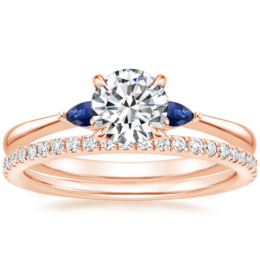 14K Rose Gold Aria Diamond Ring with Sapphire Accents with Luxe Ballad Diamond Ring (1/4 ct. tw.)