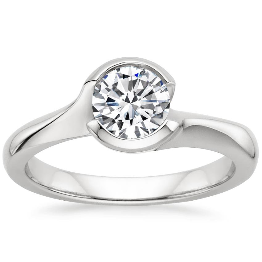 Round Contemporary Engagement Ring Cascade Setting