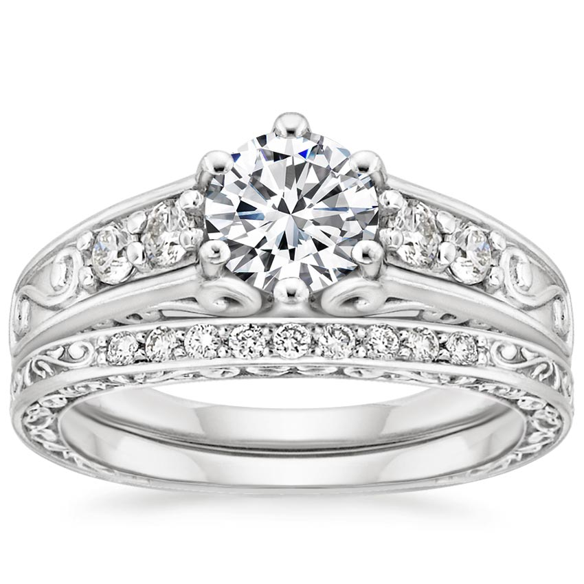 18K White Gold Art Deco Filigree Diamond Ring with Contoured Delicate Antique Scroll Ring (1/3 ct. tw.), top view