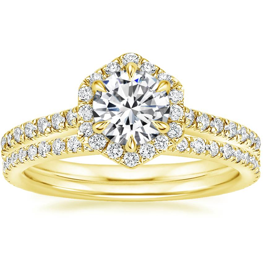 18K Yellow Gold Sonnet Diamond Ring (1/3 ct. tw.) with Luxe Ballad Diamond Ring (1/4 ct. tw.)