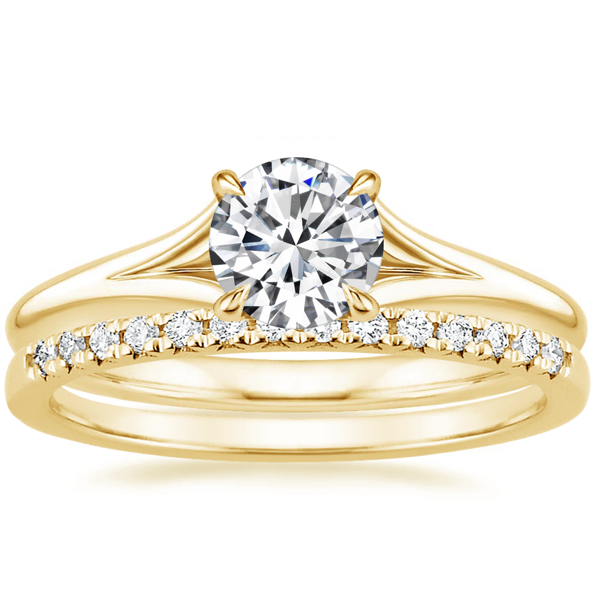 18K Yellow Gold Reverie Ring with Sonora Diamond Ring (1/8 ct. tw.)