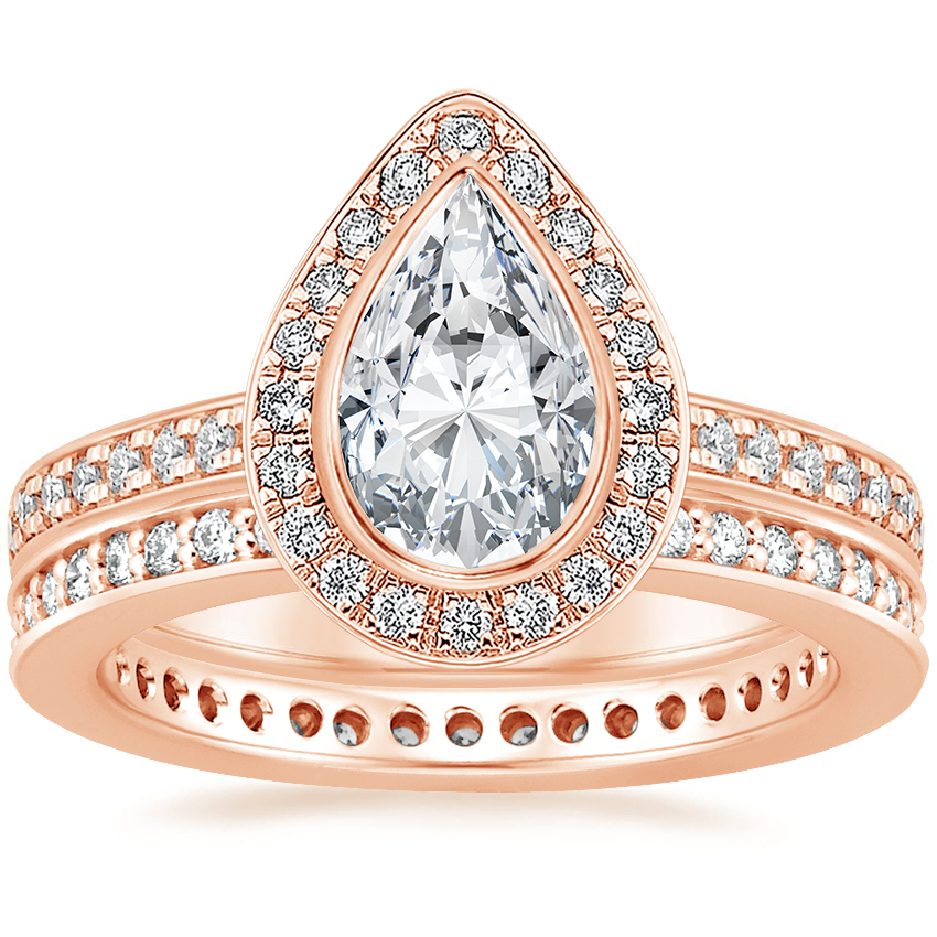 14K Rose Gold Malia Diamond Ring (1/4 ct. tw.) with Starlight Eternity Diamond Ring (1/3 ct. tw.)