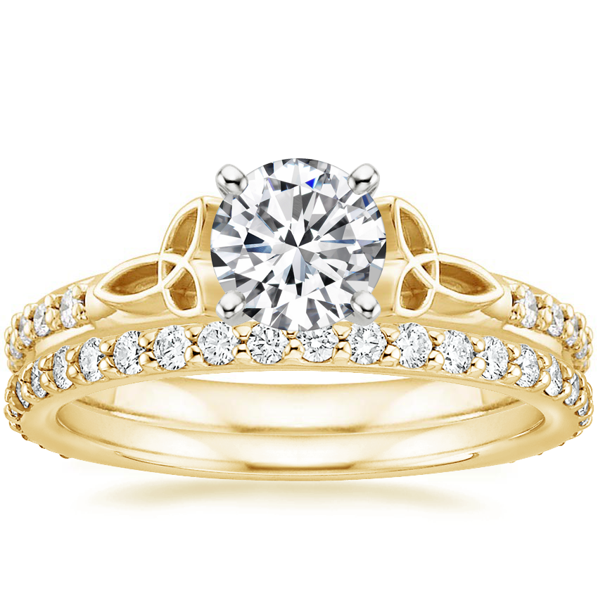 18K Yellow Gold Luxe Celtic Love Knot Ring with Petite Shared Prong Eternity Diamond Ring (1/2 ct. tw.)