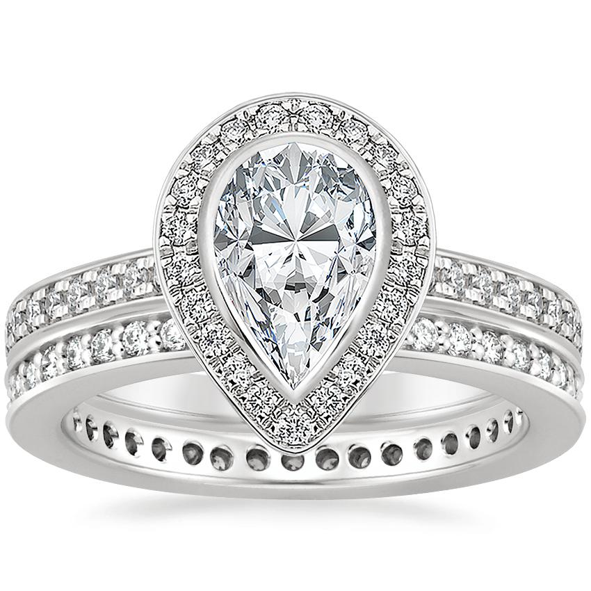 18K White Gold Malia Diamond Ring (1/4 ct. tw.) with Starlight Eternity Diamond Ring (1/3 ct. tw.)