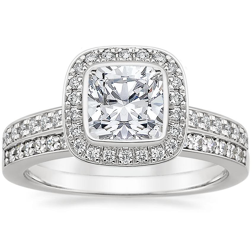 18K White Gold Malia Diamond Ring (1/4 ct. tw.) with Starlight Diamond Ring (1/8 ct. tw.)