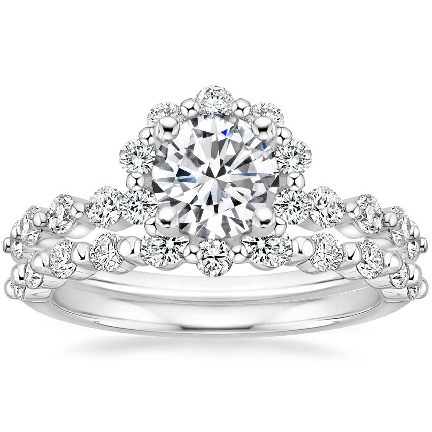 Platinum Marseille Halo Diamond Ring (1/2 ct. tw.) with Marseille Diamond Ring (1/3 ct. tw.)