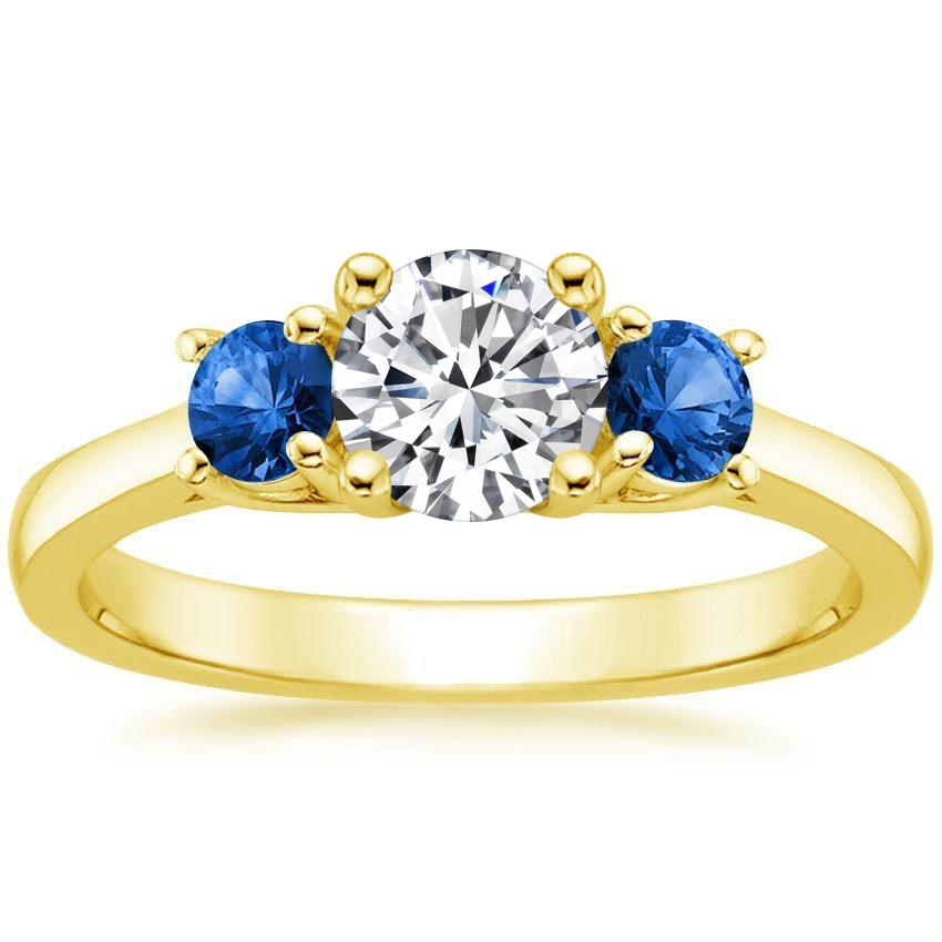 Round 18K Yellow Gold Three Stone Sapphire Trellis Ring