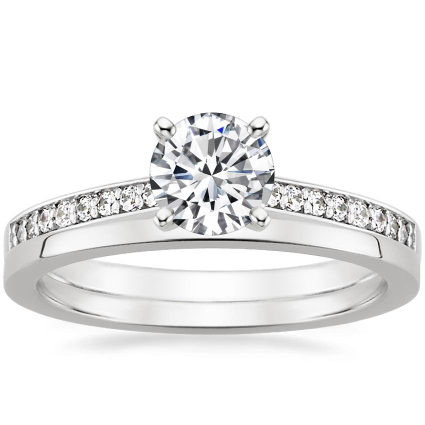 18K White Gold Starlight Diamond Ring with Petite Quattro Wedding Ring