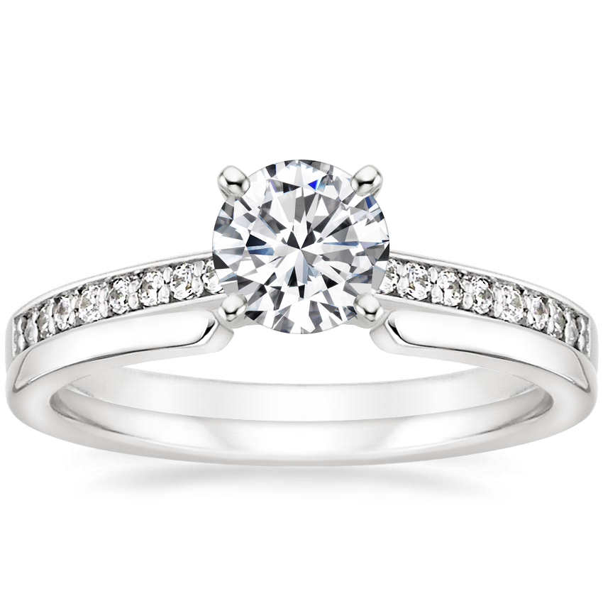 18K White Gold Starlight Diamond Ring with Liv Wedding Ring