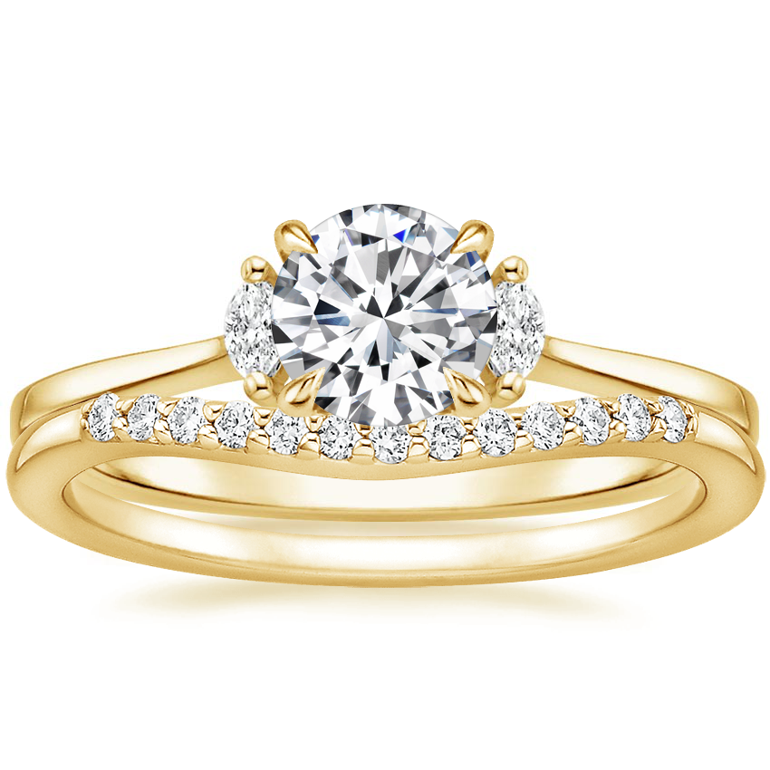18K Yellow Gold Jolie Diamond Ring with Petite Curved Diamond Ring (1/10 ct. tw.)