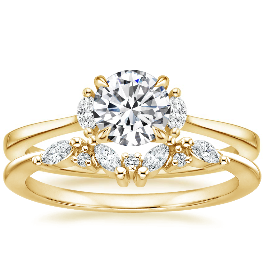 18K Yellow Gold Jolie Diamond Ring with Yvette Diamond Ring