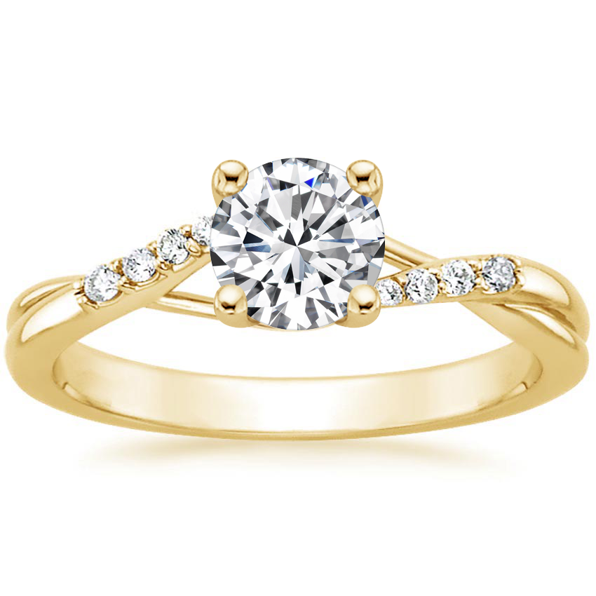 Round 18K Yellow Gold Chamise Diamond Ring (1/15 ct. tw.)