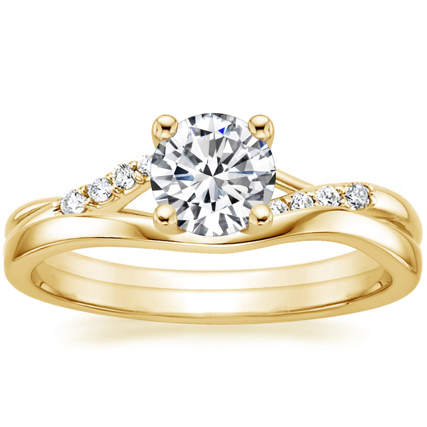 18K Yellow Gold Chamise Diamond Ring with Grace Contoured Ring
