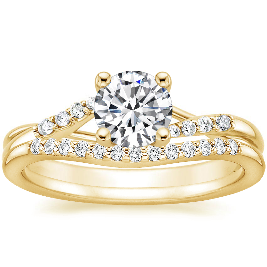 18K Yellow Gold Chamise Diamond Ring (1/15 ct. tw.) with Petite Curved Diamond Ring (1/10 ct. tw.)
