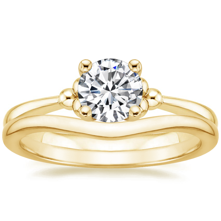 18K Yellow Gold Soiree Ring with Petite Curved Wedding Ring