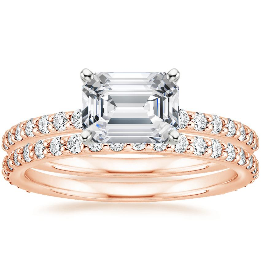 14K Rose Gold Horizontal Petite Shared Prong Diamond Ring (1/4 ct. tw.) with Luxe Petite Shared Prong Diamond Ring (3/8 ct. tw.)