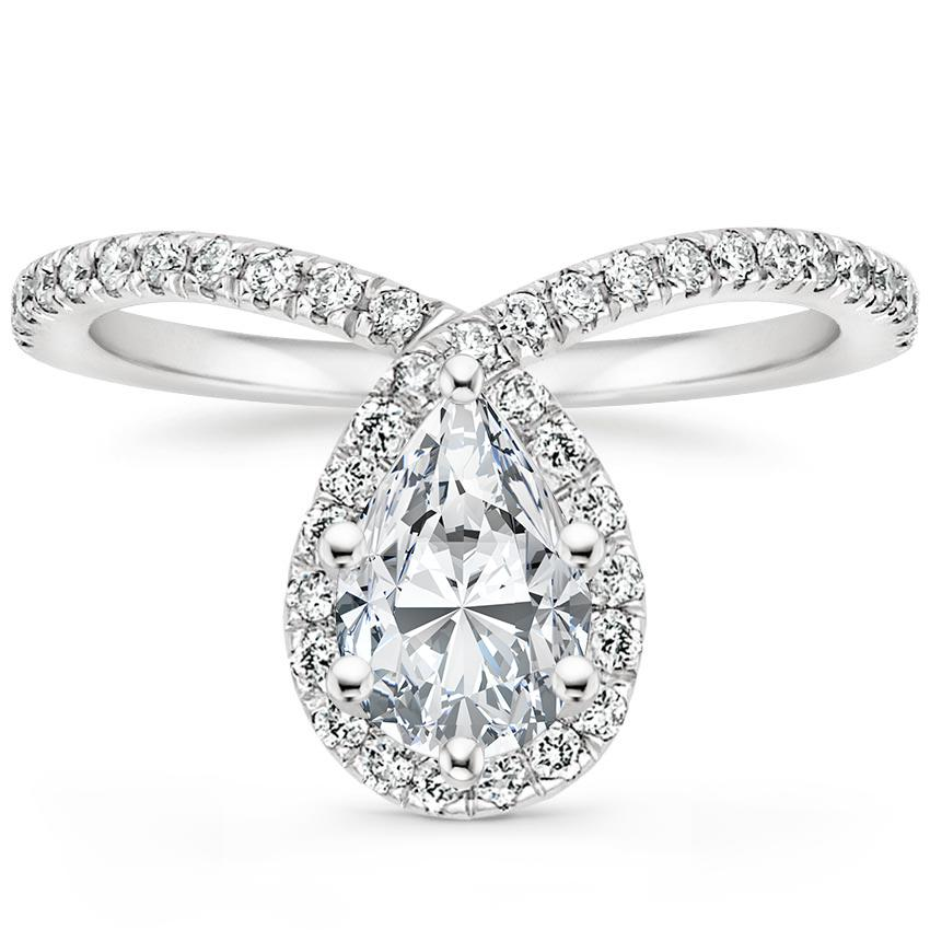 Pear Flair Halo Diamond Ring
