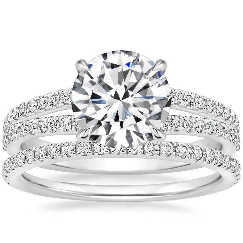 18K White Gold Mirra Diamond Ring (1/4 ct. tw.) with Luxe Ballad Diamond Ring (1/4 ct. tw.)
