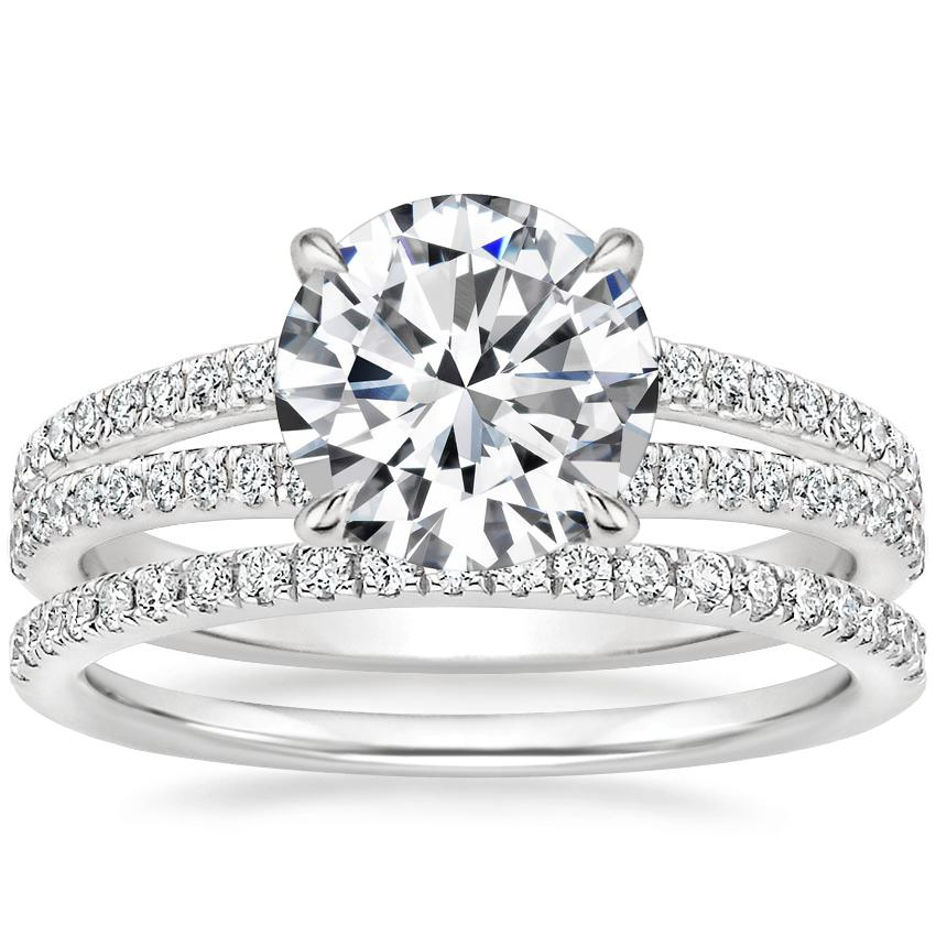 18K White Gold Mirra Diamond Ring (1/4 ct. tw.) with Ballad Diamond Ring (1/6 ct. tw.)