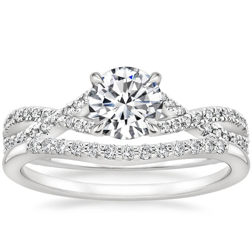 18K White Gold Chloe Diamond Ring (1/4 ct. tw.) with Petite Curved Diamond Ring