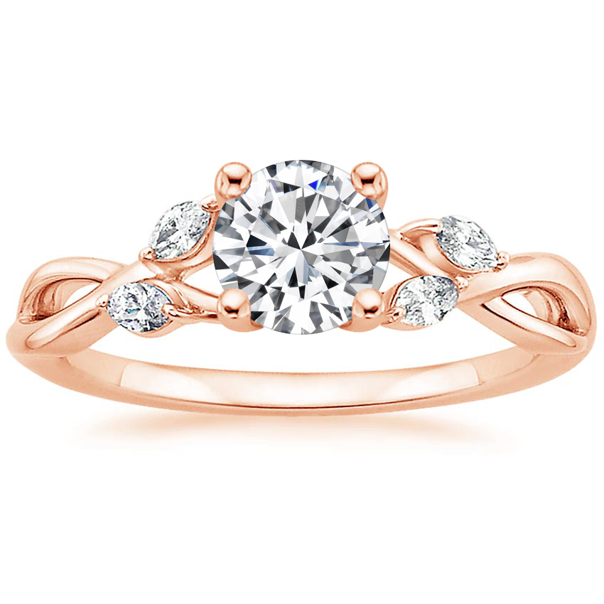 Round 14K Rose Gold Willow Diamond Ring (1/8 ct. tw.)