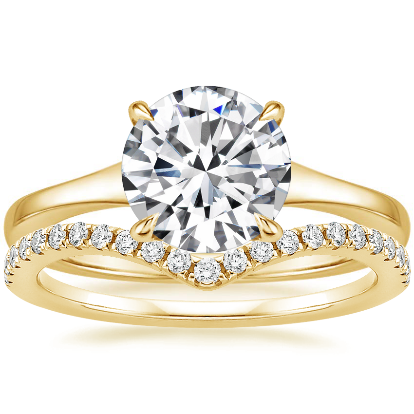 18K Yellow Gold Muse Ring with Flair Diamond Ring (1/6 ct. tw.)