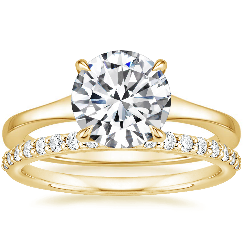 18K Yellow Gold Muse Ring with Petite Shared Prong Diamond Ring (1/4 ct. tw.)