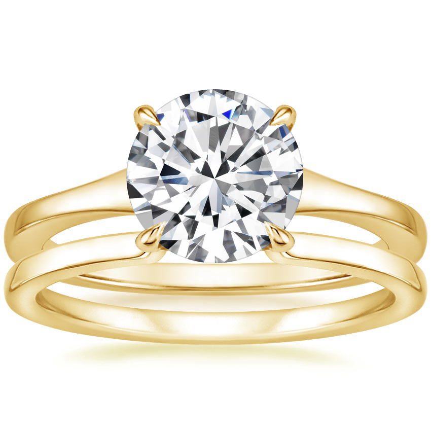 18K Yellow Gold Muse Ring with Liv Wedding Ring
