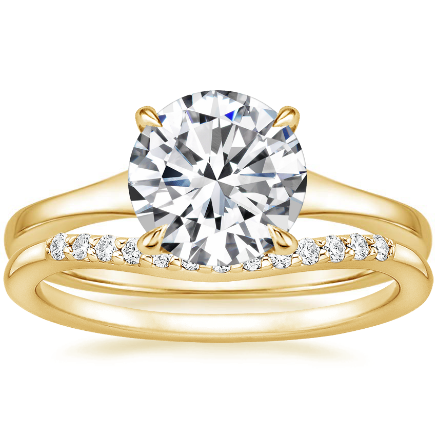 18K Yellow Gold Muse Ring with Petite Curved Diamond Ring (1/10 ct. tw.)