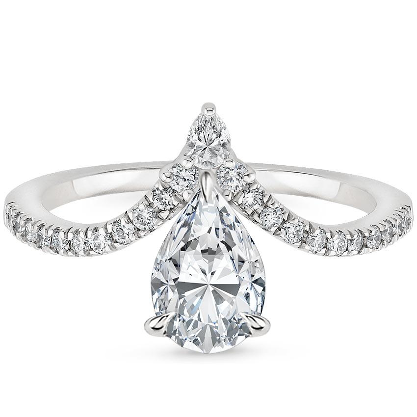 Pear Platinum Nouveau Diamond Ring