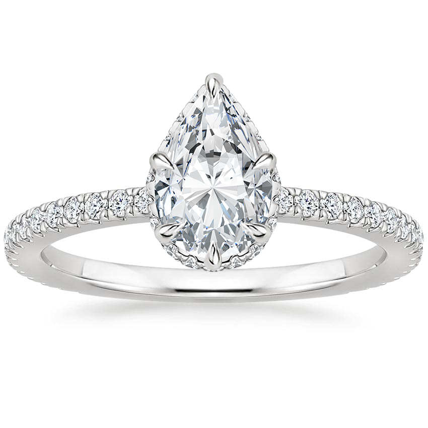 Pear Double Hidden Halo Engagement Ring