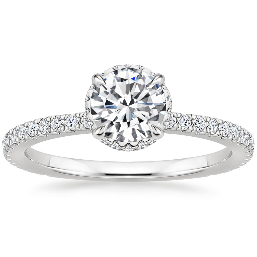 Round Double Hidden Halo Engagement Ring