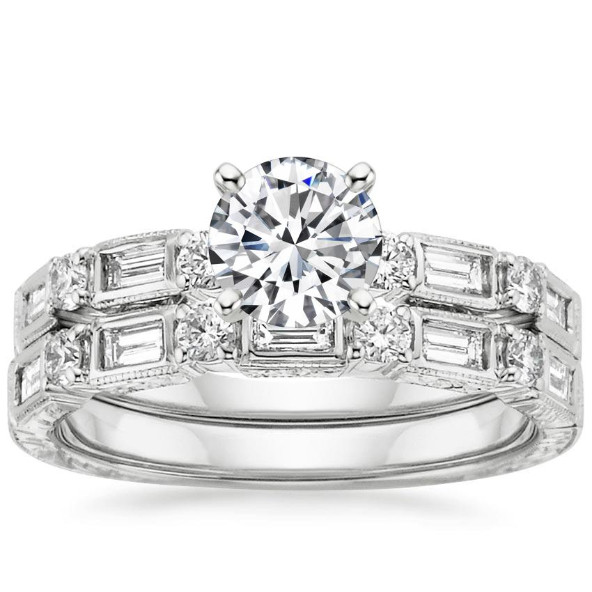 18K White Gold Vintage Diamond Baguette Bridal Set, top view