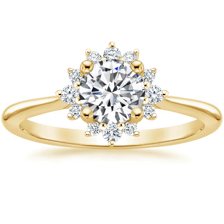 Round 18K Yellow Gold Sol Diamond Ring
