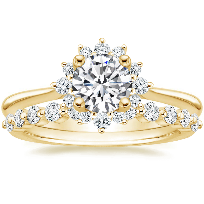 18K Yellow Gold Sol Diamond Ring with Marseille Diamond Ring (1/3 ct. tw.)