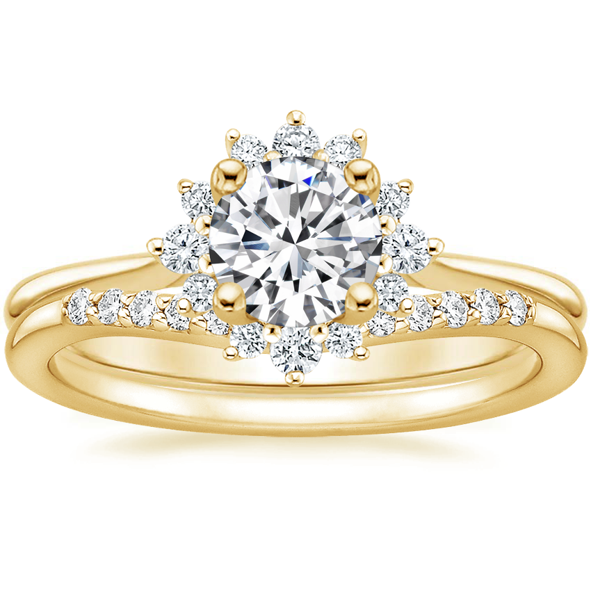 18K Yellow Gold Sol Diamond Ring with Petite Curved Diamond Ring (1/10 ct. tw.)